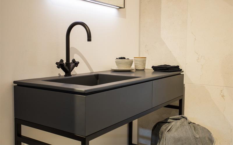 Nieuw dubbel badkamer meubel forest met zwarte wasbak l te